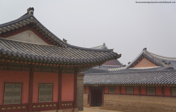 The inner courtyard at Gyeongbokgung Palace 경복궁 in Seoul, South Korea.