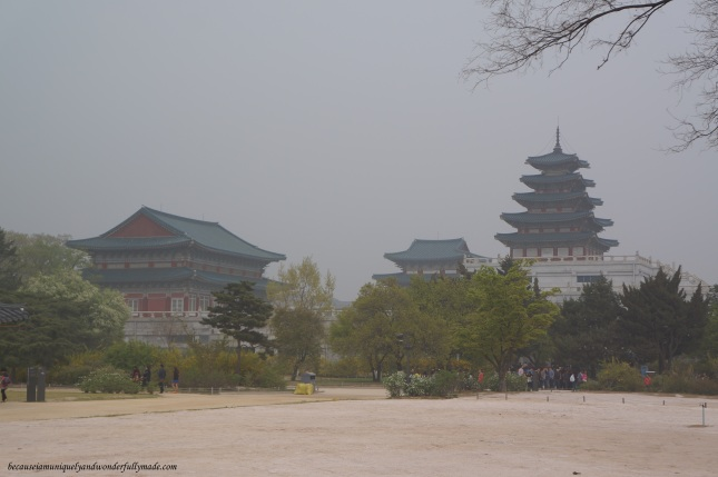 View of the National Folk Museum as seen inside the Gyeongbokgung Palace 경복궁 in Seoul, South Korea.