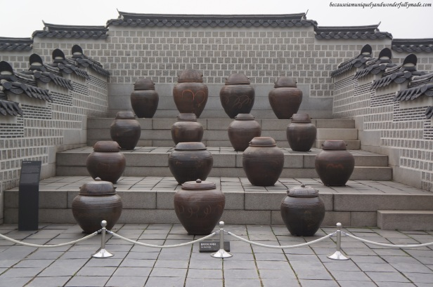 Fermented soy paste in clay pots at Gyeongbokgung Palace 경복궁 in Seoul, South Korea.
