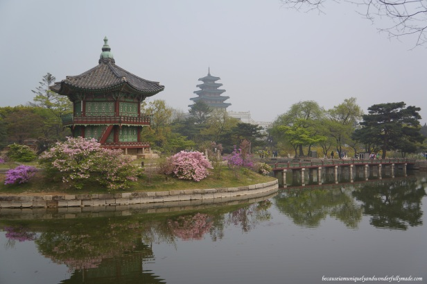 "Hyangwonjeong 향원정 or the Hyangwonjeong Pavilion built on an artificial island on a lake named Hyangwonji 향원지 at Gyeongbokgung Palace 경복궁 in Seoul, South Korea.  Hyangwonjeong translates as ""Pavilion of Far-Reaching Fragrance""."