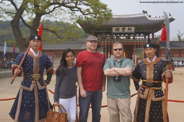 After watching the 24 Martial Arts Trial Performance (무예24기 시범공연) in front of Sinpungnu Pavilion 신풍루 at Hwaeseong Haenggung Palace 화성행궁 – Suwon 수원, South Korea.