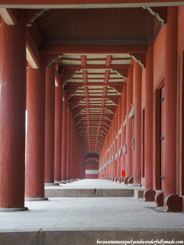 Jeongjeon (정전), the main hall at Jongmyo Shrine 종묘대제 in Seoul, South Korea, has 49 royal spirit tables and 19 different windowless rooms, all honoring 19 different Joseon dynasty kings.