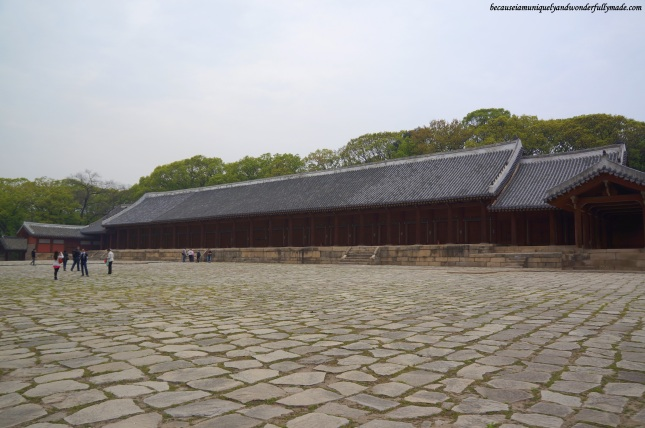 The spacious courtyard in front of Jeongjeon (정전) at Jongmyo Shrine 종묘대제 in Seoul, South Korea, where the Jongmyo Jerye or memorial service is performed.