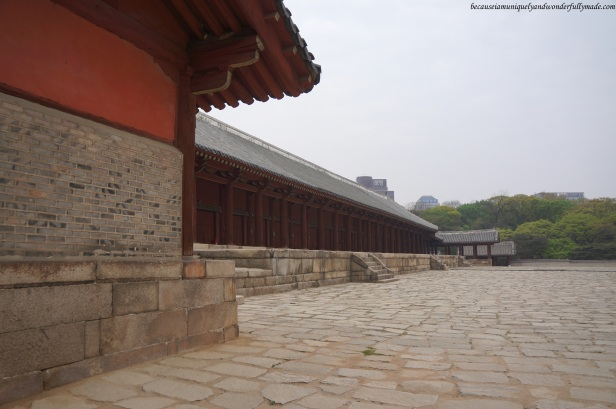Another view of the spacious courtyard in front of Jeongjeon (정전) at Jongmyo Shrine 종묘대제 in Seoul, South Korea, where the Jongmyo Jerye or memorial service is performed.