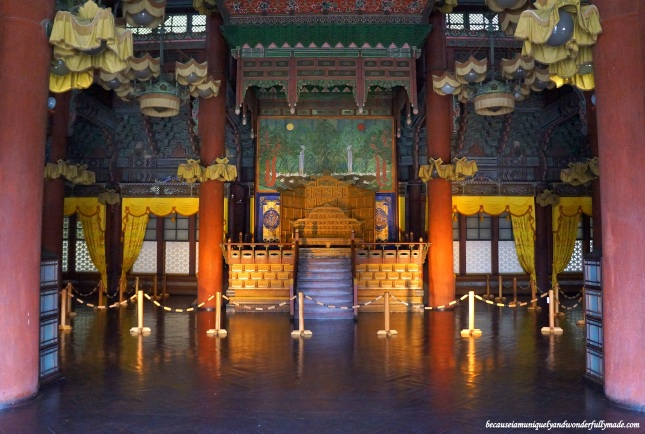 The throne inside the Injeongheon Hall 인정전 of Changdeokgung Palace 창덕궁 in Seoul, South Korea. Not quite the Iron Throne but this is the seat of power everyone will die for.