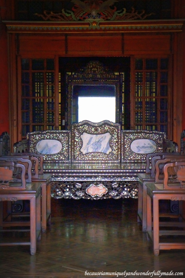 A peek inside the Daejojeon Hall (Queen's chamber) 대조전 at Changdeokgung Palace 창덕궁 in Seoul, South Korea.