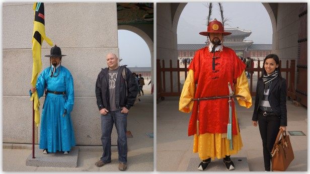 """With the Royal Guards or """"Wanggung Sumunjang"""" at Gyeongbokgung Palace 경복궁 in Seoul, South Korea."""