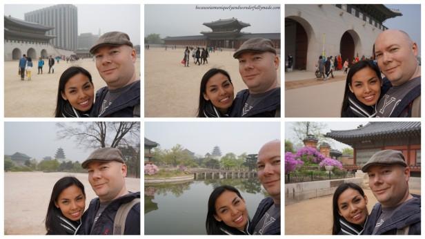 Selfie photos collage taken at Gyeongbokgung Palace 경복궁 in Seoul, South Korea.