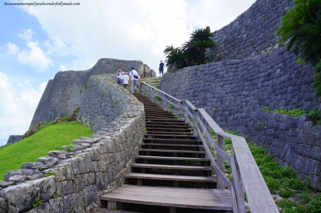 The stairs leading to the third enclosure of Katsuren Castle 勝連城 (Katsuren-gusuku) in Uruma City, Okinawa 沖縄県, Japan.