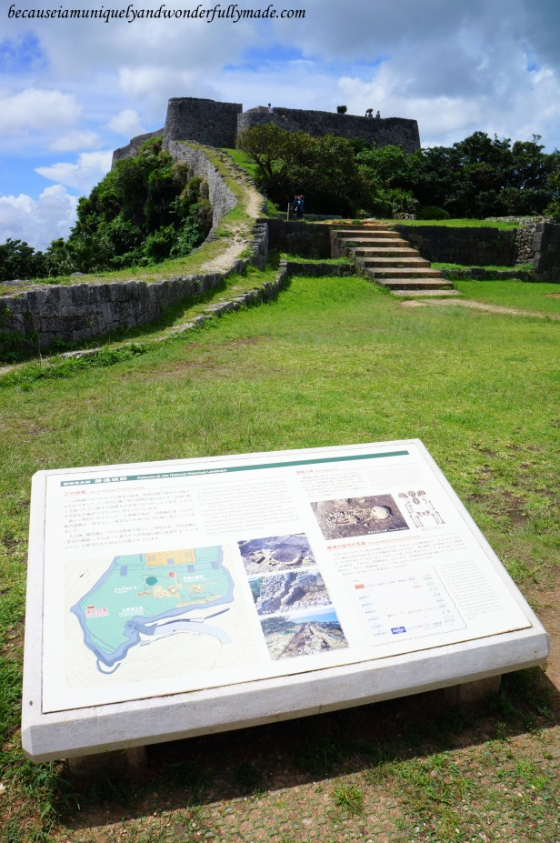 View of the second and first enclosure as seen from the third enclosure of Katsuren Castle 勝連城 (Katsuren-gusuku) in Uruma City, Okinawa 沖縄県, Japan.