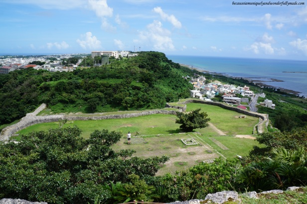 View of the lower enclosures from the top of The Tamanomiuji-utaki at Katsuren Castle 勝連城 (Katsuren-gusuku) in Uruma City, Okinawa 沖縄県, Japan.