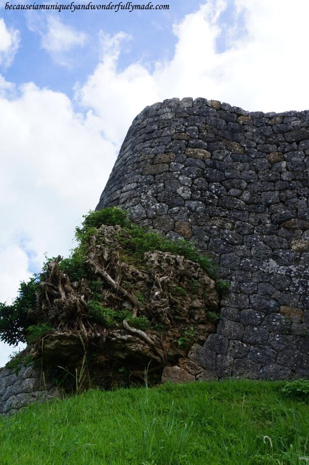 Katsuren Castle 勝連城 (Katsuren-gusuku) in Uruma City, Okinawa 沖縄県, Japan is built on a limestone and some beautiful rock formations are very captivating.