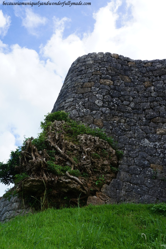 Katsuren Castle 勝連城 (Katsuren-gusuku) in Uruma City, Okinawa 沖縄県, Japan is built on a limestone and some beautiful rock formations are very captivating.