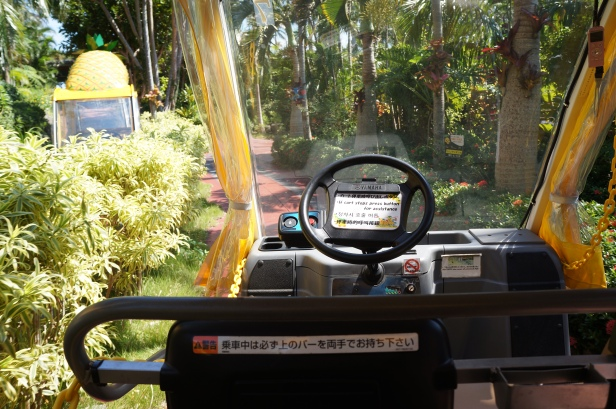 The automatic/electric vehicle that runs through the pineapple farm in Nago City, Okinawa, Japan.