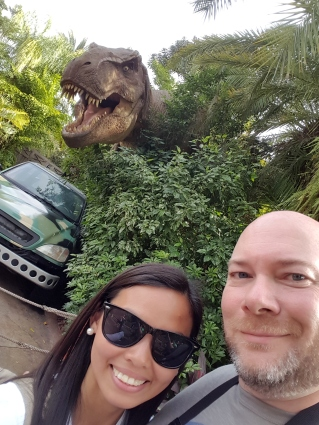 Jurassic World at Universal Studio Theme park in Orlando, Florida.