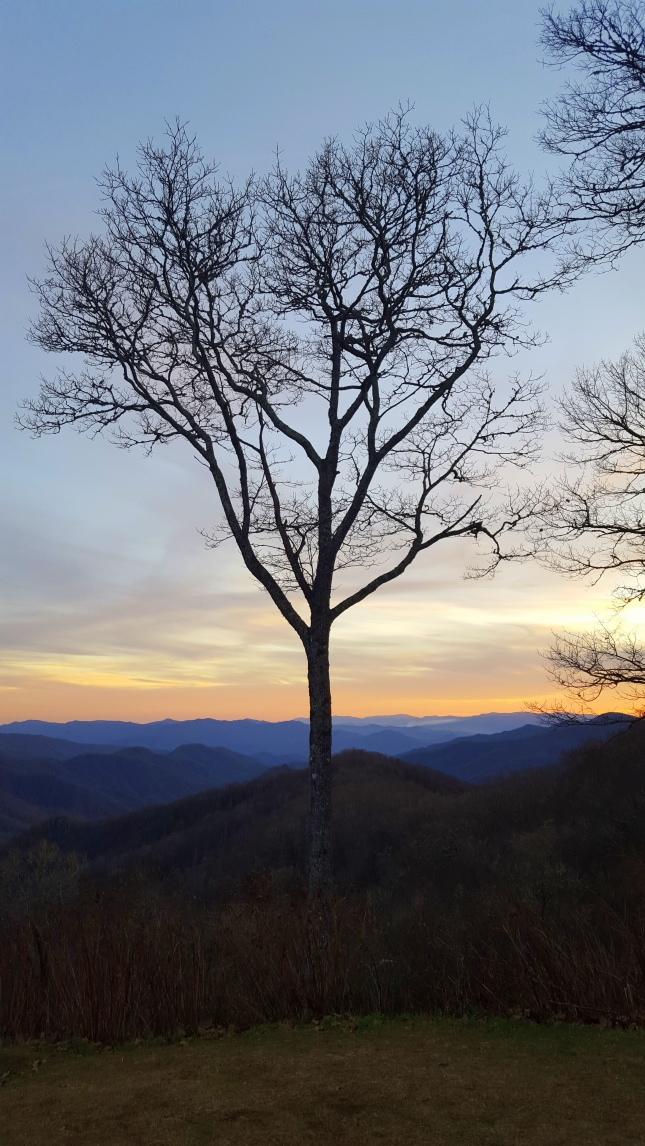 The Great Smoky Mountain National Park at dusk.