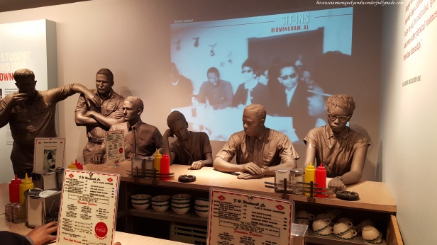 Exhibits inside the National Civil Rights Museum (Lorraine Motel) in Memphis, Tennessee where Martin Luther King Jr. was assassinated. He taught the world values like equality, courage, non-violence, justice, human dignity, and love.