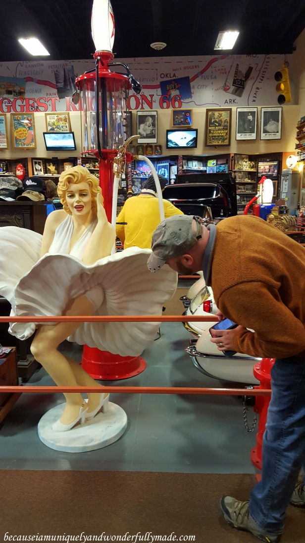 Marilyn Monroe inside the car museum at Russell's Travel Center off Interstate 40 on New Mexico.