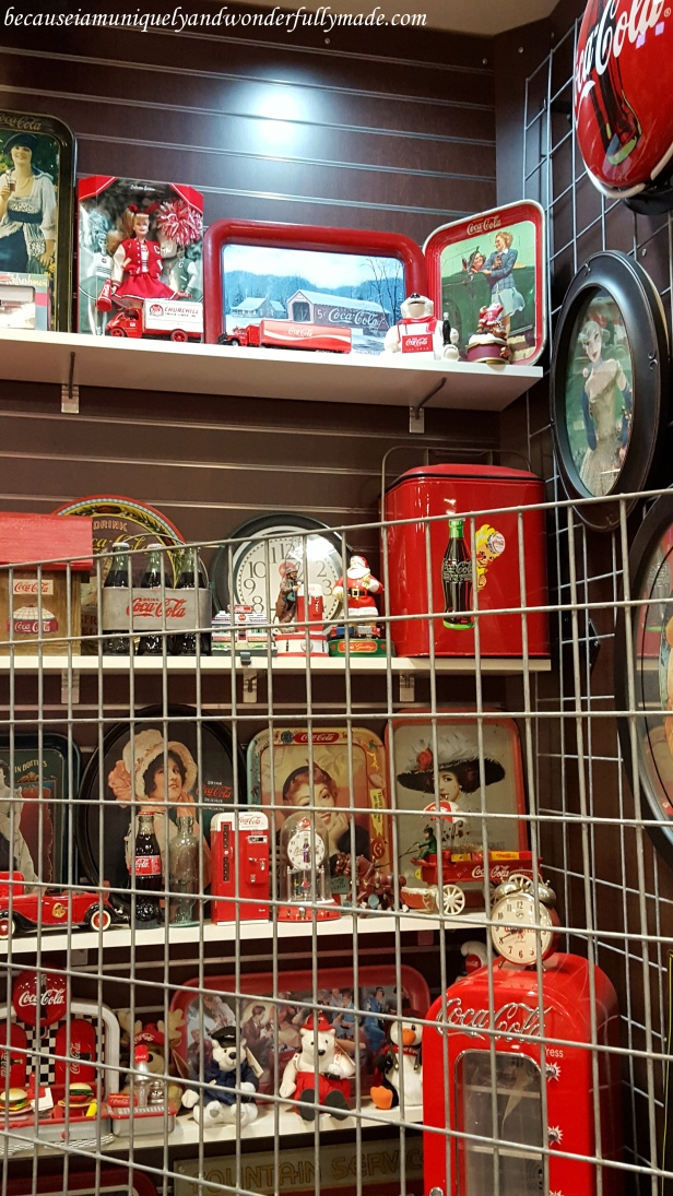 Memorabilia of Coca Cola collectibles inside the car museum at Russell's Travel Center off Interstate 40 on New Mexico.