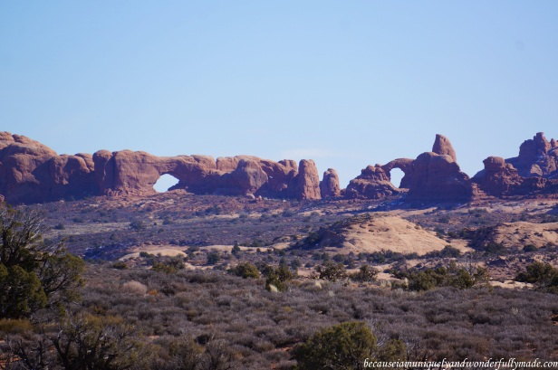 The North Window (left) and the South Window (right) at Arches National Park in Utah, USA.