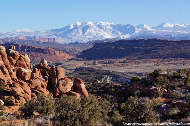 The Fiery Furnace at Arches National Park with the La Sal Mountains in the background.