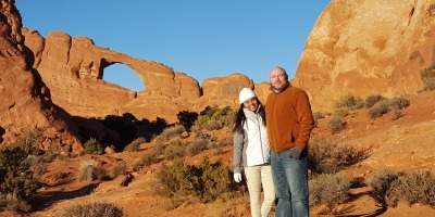 The Skyline Arch at Arches National Park in Utah, USA.