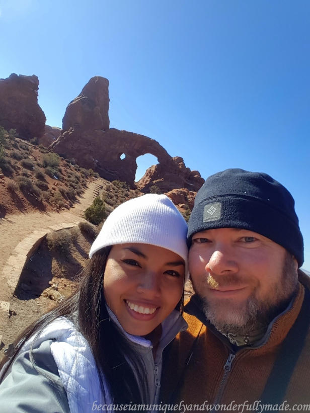 The Turret Arch in our background at Arches National Park in Utah, USA.