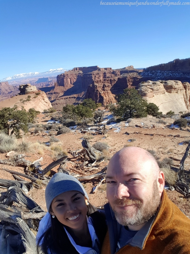 At the Shafer Canyon Overlook at Island in the Sky district in Canyonlands National Park in Moab, Utah.