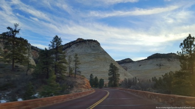 Our first sight of Checkerboard Mesa during our scenic drive at Zion-Mt. Carmel Highway in Zion National Park in Utah.