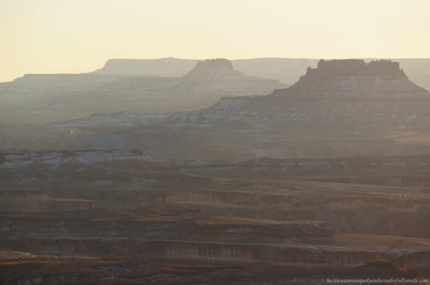 Canyonlands National Park in sunset as viewed from Green River Overlook.