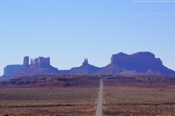 Approaching the iconic Monument Valley after linking with US Highway 163 from US 191 in Utah, USA.