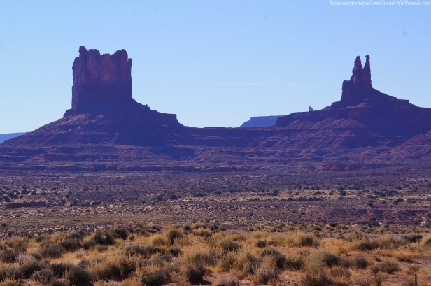 A peek of Monument Valley from US Highway 163 in Utah, USA.