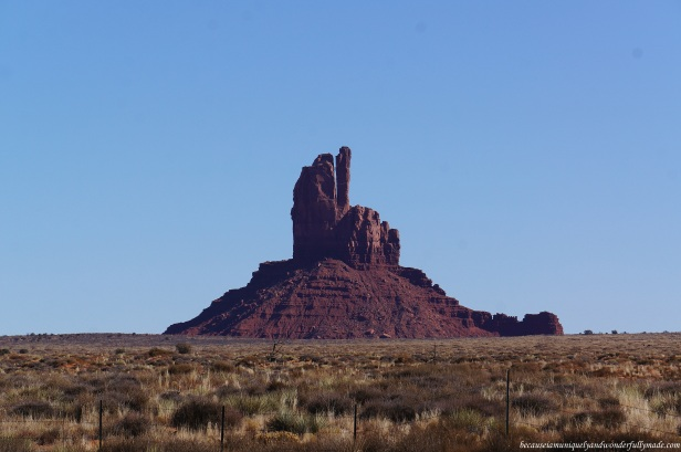 A lone rock formation at Monument Valley in Utah, USA.