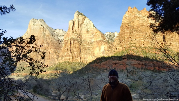 The Patriarchs at Zion National Park are referring to the three neighboring sandstone peaks on the west side of Zion Canyon and each is named after biblical fathers. From left to right (south to north) they are Abraham Peak, Isaac Peak, and Jacob Peak.