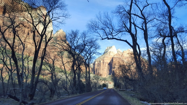 Driving towards the Court of Patriarchs in Utah.