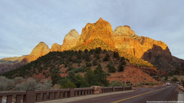 View of the Zion Canyon Junction Bridge at Zion National Park in Springdale, Utah.