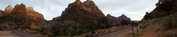 Panoramic view of Canyon Junction in Zion National Park in Springdale, Utah during sunset.