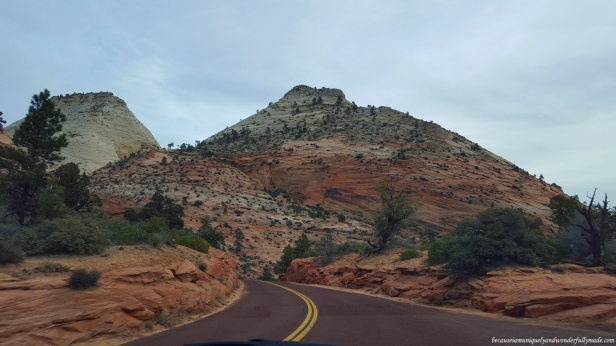 Driving out of Zion National Park in Utah.