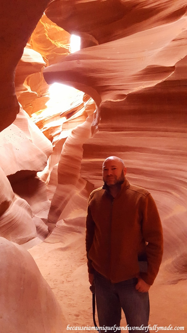 The face of an eagle behind my husband at Lower Antelope Canyon in Page, Arizona.