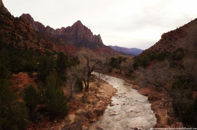 View of the Virgin River and the Watchman from the Canyon Junction Bridge at Zion National Park in Springdale, Utah.