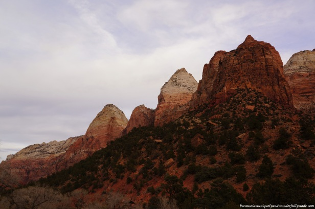 The other side of Zion Canyon as viewed from the Canyon Junction Bridge in Zion National Park in Springdale, Utah.