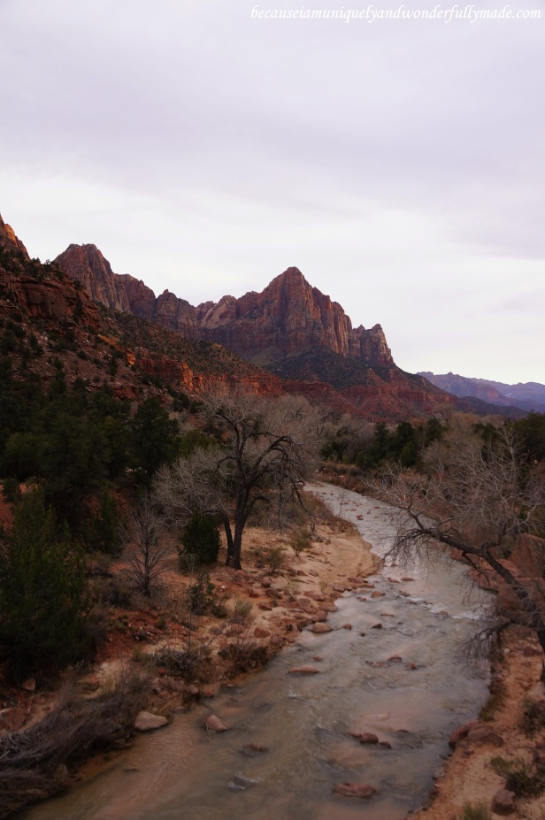 Another view of the Virgin River and the Watchman from the Canyon Junction Bridge at Zion National Park in Springdale, Utah.