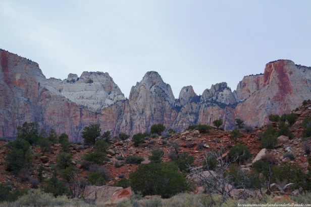 Sandstone cliffs as viewed from the Canyon Junction Bridge in Zion National Park in Springdale, Utah.