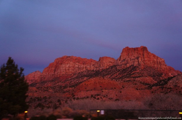Driving around Springdale, Utah after exploring Zion National Park, the pinkish-orange sky has turned purple, and it was magnificient.