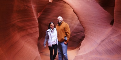 "Antelope Canyon in Page, Arizona includes two individually separate sections called the ""Upper Antelope Canyon"" or ""The Crack"", and the ""Lower Antelope Canyon"" or ""The Corkscrew"". We chose the Lower Antelope Canyon today."