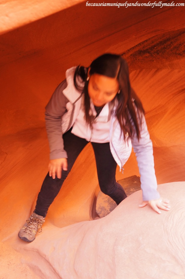 An adventure at Lower Antelope Canyon in Page, Arizona requires climbing. Therefore, hydrate with enough water, wear the proper footwear, and watch your head.