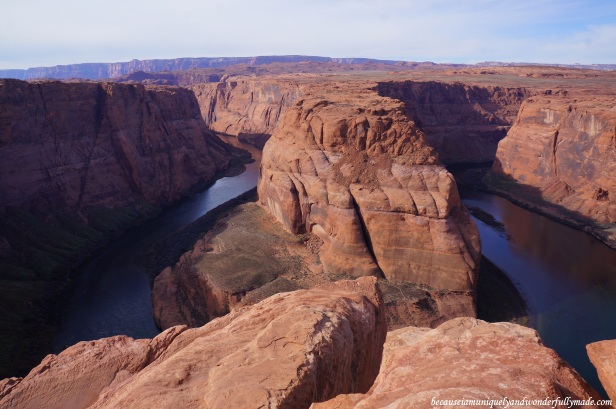 Overlooking the Horseshoe Bend and the Colorado River in Page, Arizona.