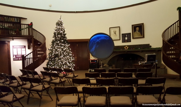 The Rotunda Library which was originally built by Lowell to house his book collection, now displays exhibits showing the history of the Lowell Observatory in Flagstaff, Arizona.