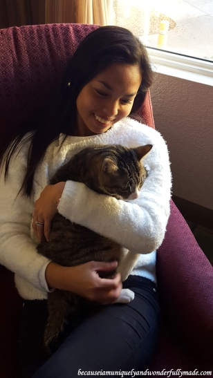 Morning cuddles inside the hotel in Flagstaff with my cat, Sakura Rain, before hitting the road to see the Grand Canyon (South Rim) in Arizona.