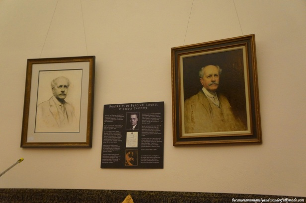 Portraits of Percival Lowell displayed inside the Rotunda Library at Lowell Observatory in Flagstaff, Arizona.